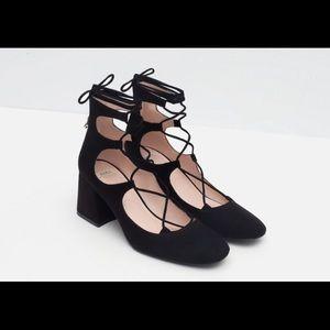 Zara Lace Up Boots Block Heel Flats SZ 10 41